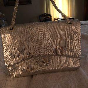 GOLD PYTHON 🐍 JUMBO DOUBLE FLAP CHAIN CR/Body BAG